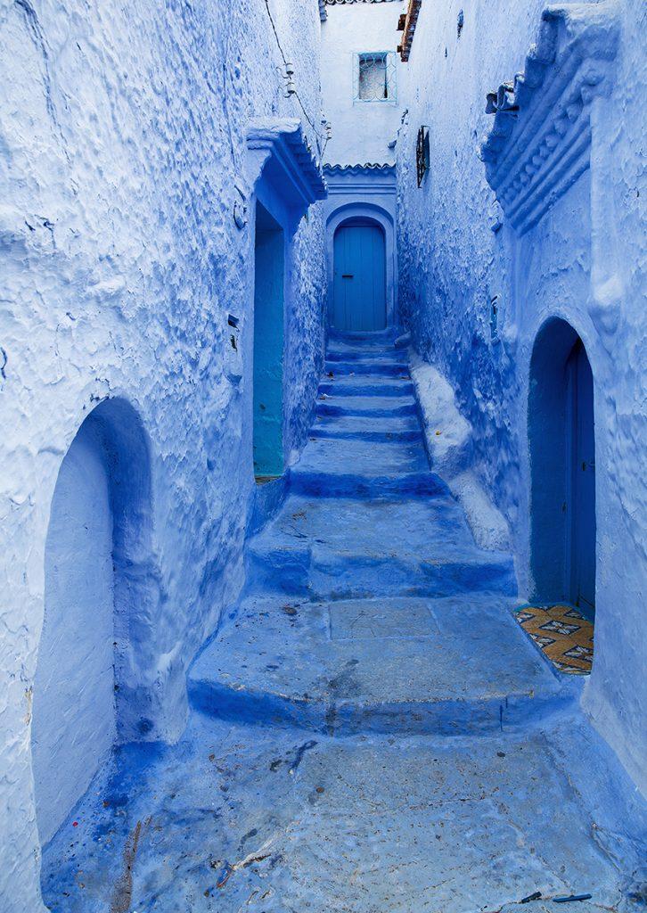 Szewszawan,Maroko,medyna,schodki,niebieski