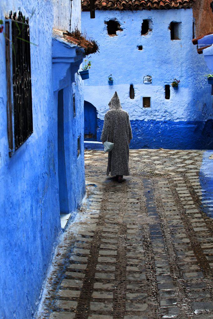 Szewszawan,Maroko,uliczka,niebieski,człowiek