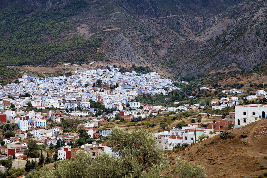 Szewszawan,Maroko,widok na miasto