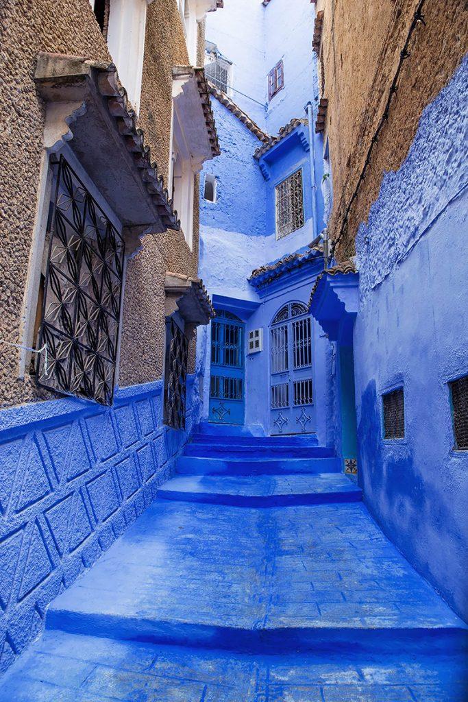 Szewszawan,Maroko,medyna,niebieski zaułek