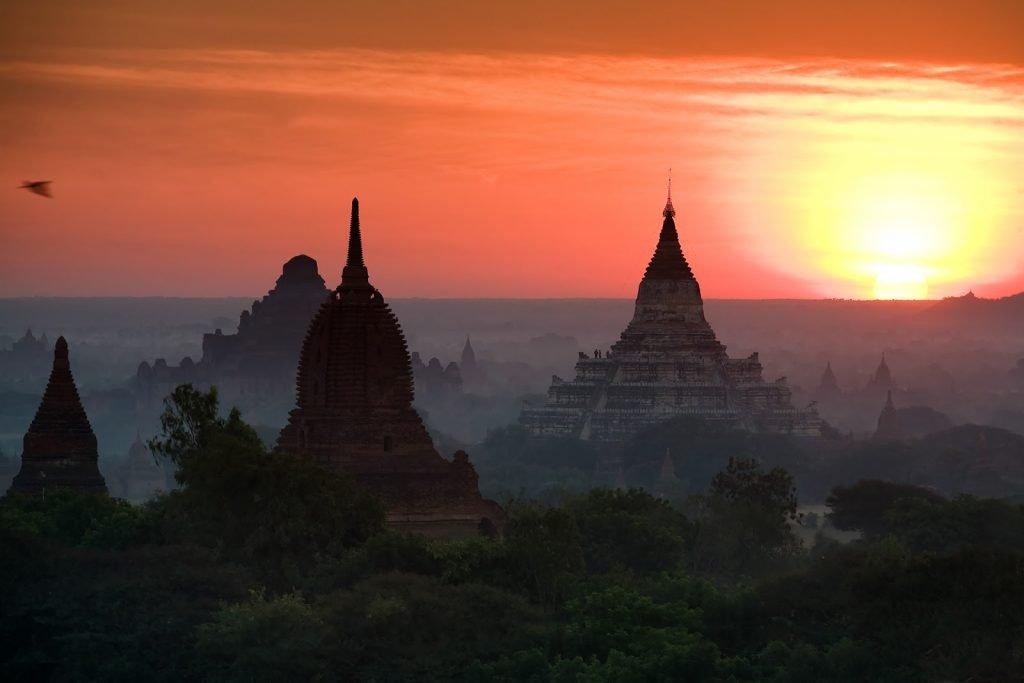 pagody,birma,bagan,świt