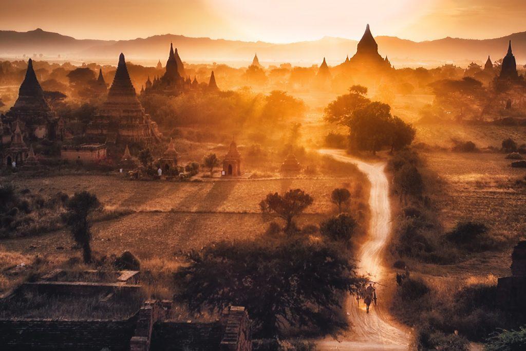 pagody,widok,bagan,birma